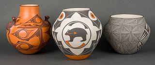 Zuni and Acoma Various Artists | Lot of Three - Zuni Pot, Acoma Pot with Bear & Acoma Black & White Pot