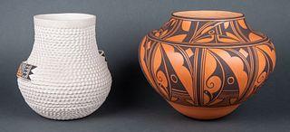 Stella Shutiva (Acoma) & Anderson and Avelia Peynetsa (Zuni)  | Lot of Two - Zuni Design Pot & White Corrugated Pot