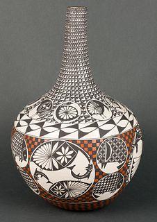 Emmalita C. Chino | Acoma Polychrome Long Neck Pot