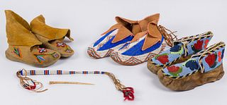 Unknown Artists | Lot of 4-Beaded Awl Case, Floral Moccasins, Moccasins, & Moccasins with Tassels