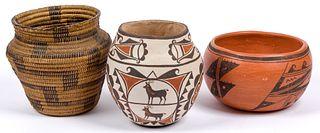 Various Artists | Lot of 3-Pima Baskets Olla, Zuni Jar & Hopi Bowl<RETURN>
