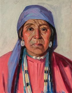 Kathryn Woodman Leighton | Indian in Blue Scarf