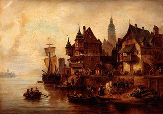 William Alexander Meyerheim (German, 1815-1882) Waterfront Village Scene