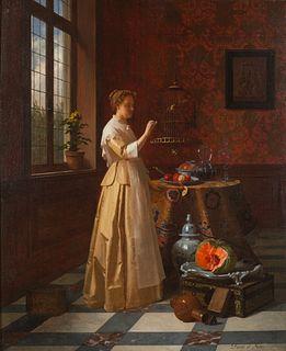 David Emile Joseph De Noter (Belgian, 1825-1892) Woman with Bird