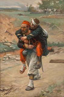 Paul Louis Narcisse Grolleron (French, 1848-1901) Soldier Carrying a Wounded Soldier, 1898
