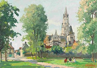 Constantine Kluge (French, 1913-2003) La cathedrale a Senlis
