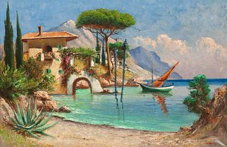 Constantin Aleksandrovich Westchiloff (Russian, 1877-1945) Beachside Home with Boat