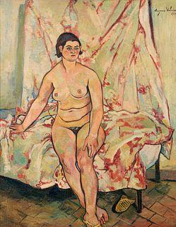 Suzanne Valadon (French, 1865-1938) Nu assis sur le bord d'un lit, 1929