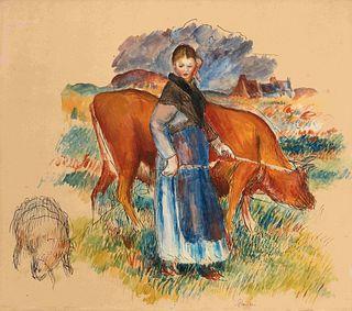 Pierre-Auguste Renoir (French, 1841-1919) Etude pour La Bergere, La Vache, La Brebis, c. 1885