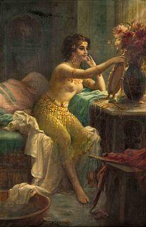Hans Zatzka  (Austrian, 1859 - 1945) Egyptian Girl at a Dressing Table