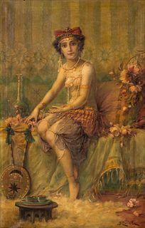 Hans Zatzka (Austrian, 1859 - 1945) Seated Egyptian Girl