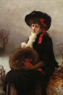 Marcus Stone (British, 1840-1921) Lady with Cat, 1881