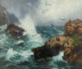 Peter Graham  (Scottish, 1836-1921) Cormorants of the Scottish Coast