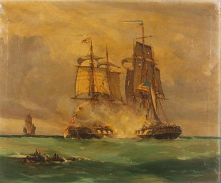 """Thomas Whitcombe  (British, c. 1760-1824) Battle Scene in the English Channel between American Ship """"Wasp"""" and the English Brig """"Reindeer"""", 1812"""