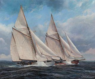 Anthony Brandrett (British, 20th century) Two Tall Ships