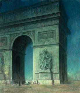 Francois Charles Cachoud  (French, 1866-1943) La Caress de la Lune sur la tombe de l'Inconnu, 1922