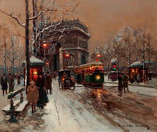 Edouard Leon Cortes (French, 1882-1969) Avenue de Friedland, Snow