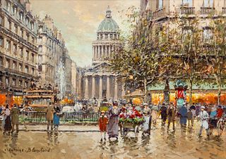 Antoine Blanchard (French, 1910-1988) Place du Luxembourg et le Pantheon, 1900
