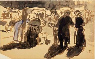Kees van Dongen (Dutch/French, 1877-1968) Le marche, rue Lepic, Paris