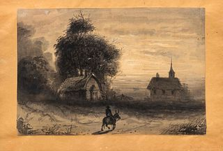 Alfred Jacob Miller (American, 1810-1874) A Horseman Rides by a Cottage and Chapel