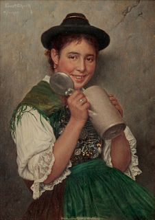 Richard Ernest Schmidt  (American, 1865-1958) Girl with Tankard, 19th or 20th century
