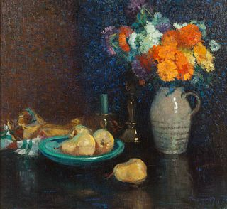 Frederick M. Grant (American, 1886-1952) Still Life with Flowers and Pears