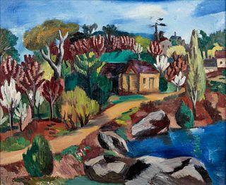 Jan Matulka (American/Czech, 1890-1972) New England Landscape, c. 1925