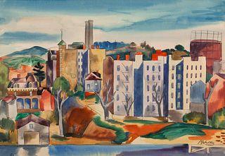 Jan Matulka (American/Czech, 1890-1972) View Of The Bronx, c. 1921