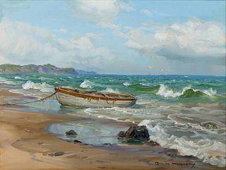 Charles Vickery (American, 1913-1998) Rowboat Moored on Beach