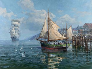 Charles Vickery (American, 1913-1998) Ships in the Harbor