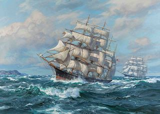 Charles Vickery (American, 1913-1998) In the Days of the Square Riggers