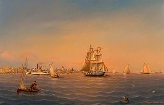 William R. Davis (American, b. 1952) Day Steamer Mooring in Outer Nantucket Harbor