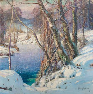 George Ames Aldrich (American, 1872-1941) Winter Landscape with River