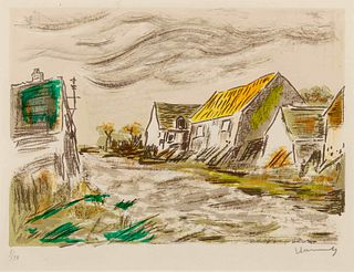 Maurice Vlaminck (French, 1876-1958) Sunset in a Village, ca. 1956