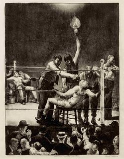 George Bellows (American, 1882-1925) Between Rounds, 2nd stone, 1916