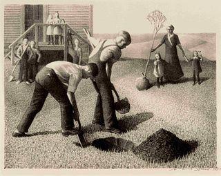 Grant Wood (American, 1891-1942) Tree Planting Group, 1937