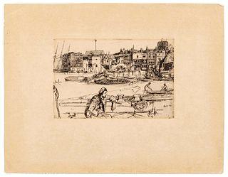 James Abbott McNeill Whistler (American, 1834-1903)  Black Lion Wharf, 1859