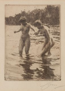Anders Zorn (Swedish, 1860-1920) Against the Tide, 1910