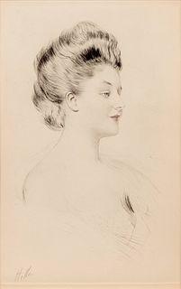 Paul Cesar Helleu (French, 1859-1927) A pair of prints (La femme dans le profil; Femme aux cheveux roux de profil)