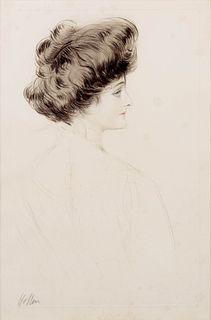 Paul Cesar Helleu (French, 1859-1927) A pair of prints (Madame de Saint-Sauveur, de profil; La femme au grand chapeau)