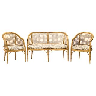 Mid-Century Modern French Riviera Cane Bamboo Sofa and Armchairs, 1960s