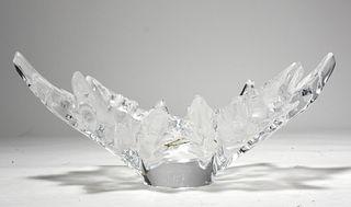 Lalique glass leaf shaped bowl