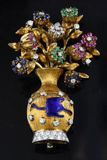 """18K gold """"en tremblant"""" floral pin"""