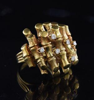 18K yellow gold Modernist design ring