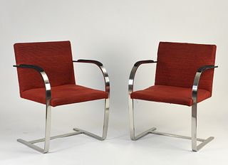 "Pr of 1970s Knoll chrome ""Brno"" chairs"