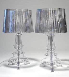 Pair of Kartell lucite lamps