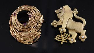 Two 14K gold pins