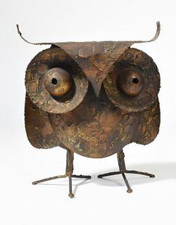 Welded brass owl signed C. Jere 67