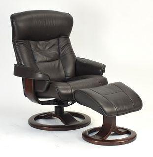 Leather chair & ottoman, Hjellegjerde