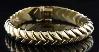 14k gold bracelet, chevron design